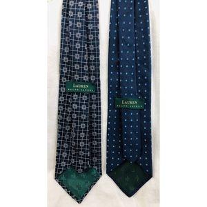 Lot of 2 LRL Ralph Lauren Necktie Silk Neck Ties